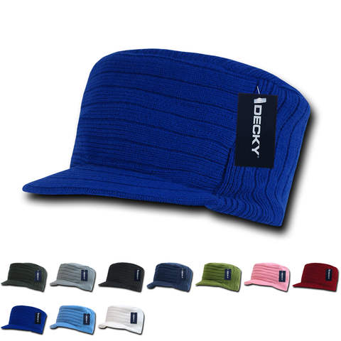 Wholesale Bulk Blank Flat Top Knit Beanie Jeep Caps - Decky 963