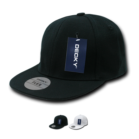 Wholesale Bulk Blank Flex Stretchable Snapback Flat Bill Hats - Decky 872