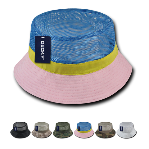 Wholesale Bulk Blank Mesh Bucket Hats - Decky 458