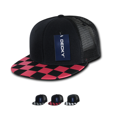 Wholesale Bulk Checker Bill Trucker Snapback Flat Bill Hats - Decky 1085