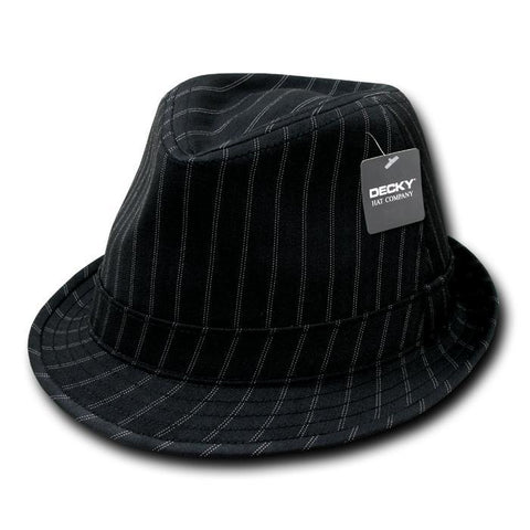 Wholesale Bulk Double Pinstripe Fedora Hat - 554 - Black