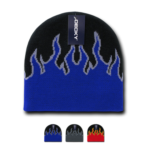 Wholesale Bulk Fire Flame Knit Beanies - Decky 8003