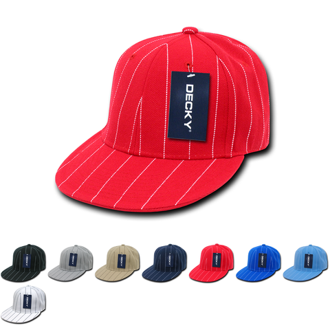 Wholesale Bulk Fitted Pin Stripe Flat Bill Snapback Hats - Decky RP3
