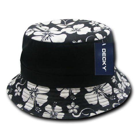 Wholesale Bulk Floral Brim Polo Bucket Hat - Decky 457
