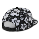 Wholesale Bulk Floral Flat Bill Snapback Hats - Decky 1065 - Black