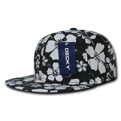 Wholesale Bulk Floral Flat Bill Snapback Hats - Decky 1065