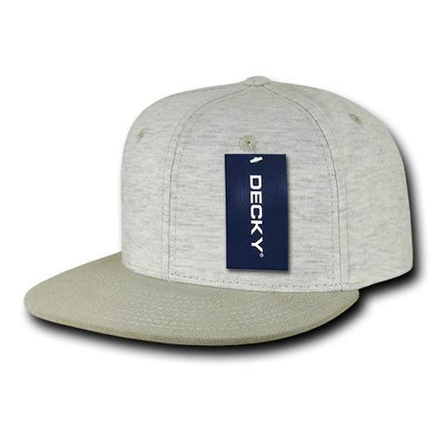 Wholesale Bulk Heather Jersey Flat Bill Snapback Hats - Decky 1131 - Cream