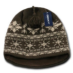 Wholesale Bulk Nordic Knit Beanies - Decky 631 - Brown/Khaki