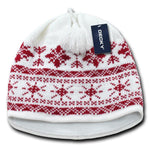 Wholesale Bulk Nordic Knit Beanies - Decky 631 - White/Red