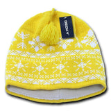 Wholesale Bulk Nordic Knit Beanies - Decky 631 - Yellow/White