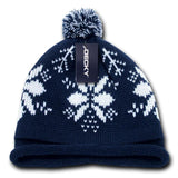 Wholesale Bulk Snowflake Roll Up Pom Knit Beanies - Decky 611B - Navy