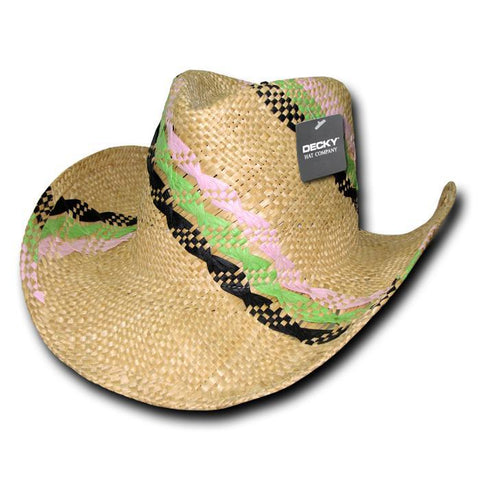Wholesale Bulk Striped Straw Cowboy Hat - 521
