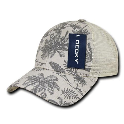 Wholesale Bulk Tropical Trucker Mesh Baseball Cap - Decky 1143