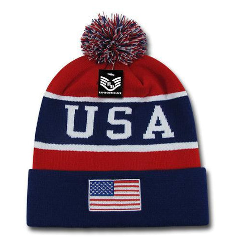 Wholesale Bulk USA American Flag Knit Beanie - R93