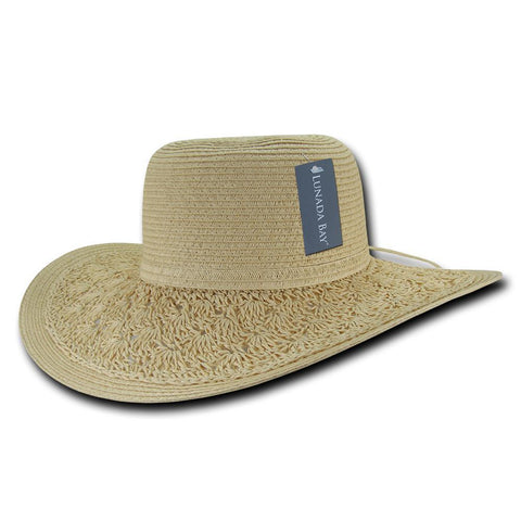 Wholesale Bulk Women's Paper Braid Straw Hat, Style B - L001