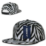 Wholesale Bulk Zebra/Tiger Snapback Flat Bill Hats - Decky 1060 - Black
