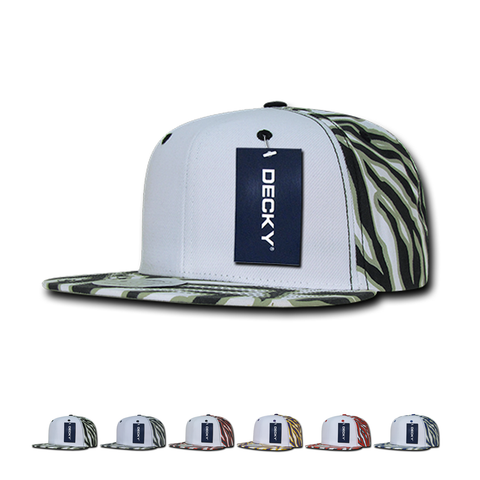 Wholesale Bulk Zebra/Tiger White Front Flat Bill Snapback Hats - Decky 1061