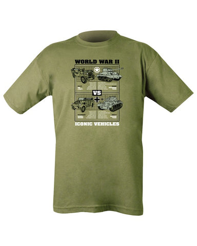 WWII Iconic Vehicles T-shirt - Olive Green