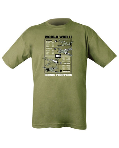 WWII Iconic Fighters T-shirt - Olive Green