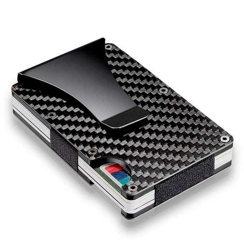Carbon fibre RFID blocking card holder with Money clip
