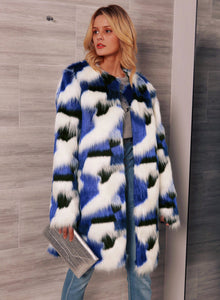 Diane Faux Fur Print 3/4 Length Coat