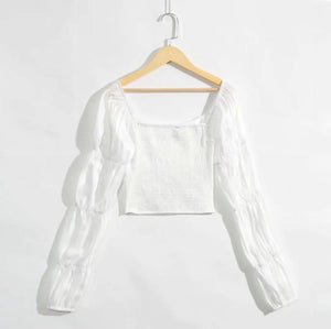 Hanna White Crop Long Sleeve Blouse Button Detail