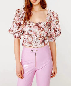 Bria Flower Power Sleeve Top
