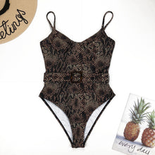 Load image into Gallery viewer, Swimsuit One Piece - Snake Print swimwear with Belt - Gemma Piece