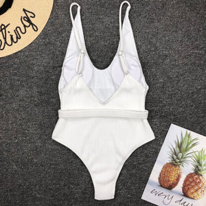 Ribbed Swimsuit in White - Hanna  Swimsuit