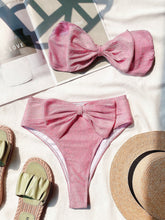 Load image into Gallery viewer, Bikini Pink Velvet Bow Set