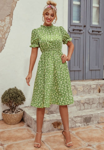 Summer Midi Lenght Floral Dress with Sleeves (LALIA)