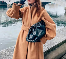 Load image into Gallery viewer, Long Coral Tan Lined Coat- Marissa