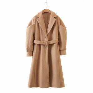 Long Coral Tan Lined Coat- Marissa