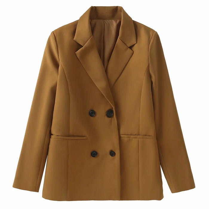 A Line Long Blazer  in Tan