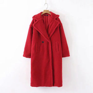 Ovie Teddy Midi Lenght Coat In Red