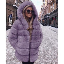 Load image into Gallery viewer, Faux Fur Hooded Jacket- Charlotte