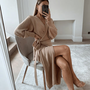Holly Wrap Soft Cotton Long Sleeve Dress