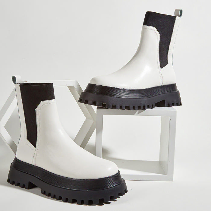 Platform Ankle Flat Boots - Philly