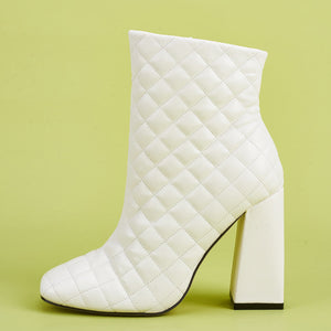 Block Heeled Ankle Boot - Faux Leather Quilted Effect