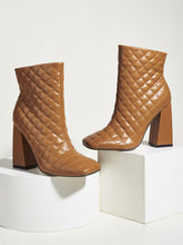 Load image into Gallery viewer, Block Heeled Ankle Boot - Faux Leather Quilted Effect
