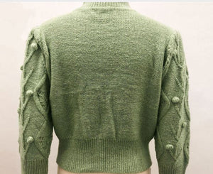 Cable Knit Green Jumper - Gina