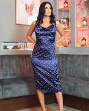 Load image into Gallery viewer, Milla Satin Midi Navy Dress
