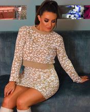 Load image into Gallery viewer, Ceri Two Piece Leopard Print Knit Set Skirt And Top Co Ord