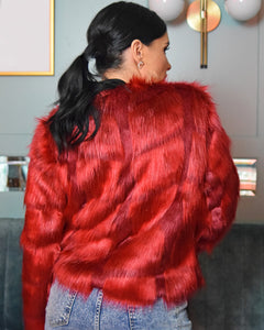 Fiona Red Faux Fur Coat