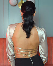 Load image into Gallery viewer, Jillie Satin Backless Balloon Sleeve  Blouse
