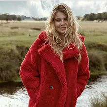 Load image into Gallery viewer, Ovie Teddy Midi Lenght Coat In Red