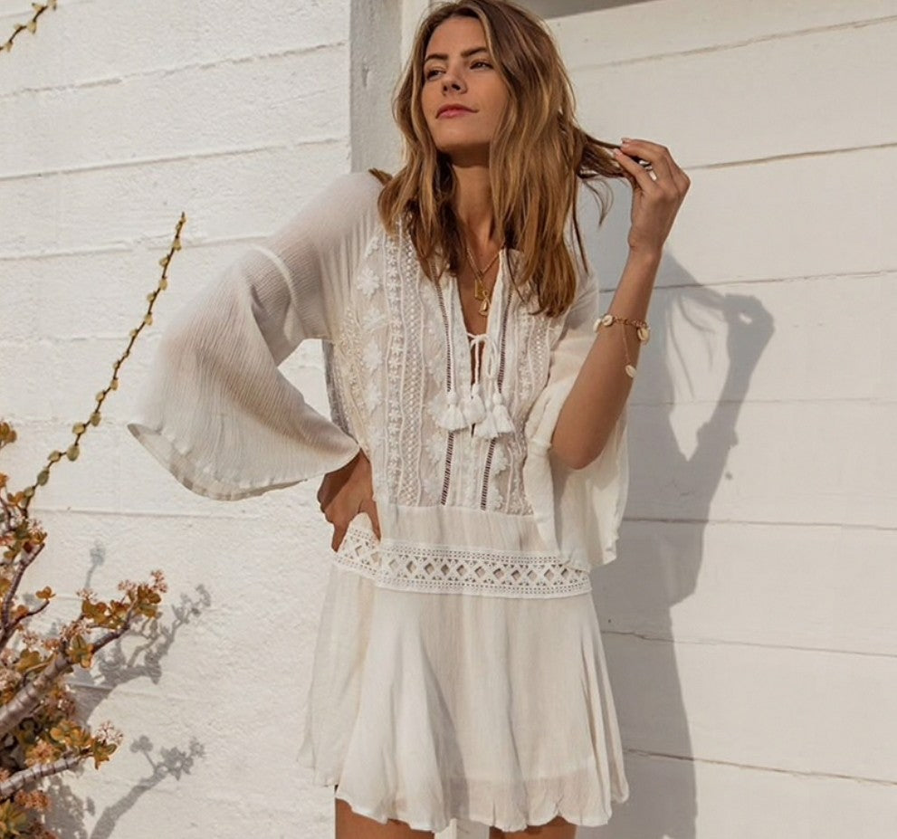 Beach Cover Up Dress ,White Beachwear embroidery Throw- (Alison)