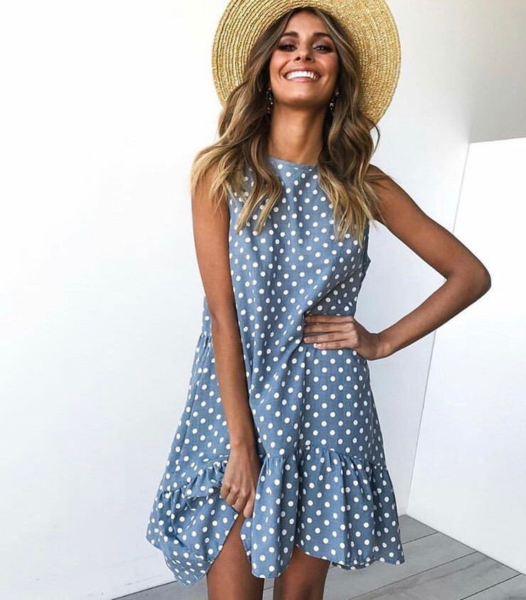 Emily Blue Polla Dot Dress
