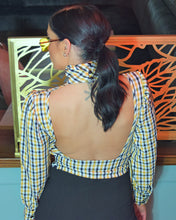Load image into Gallery viewer, Yorker  Long Sleeve Backless Check Blouse