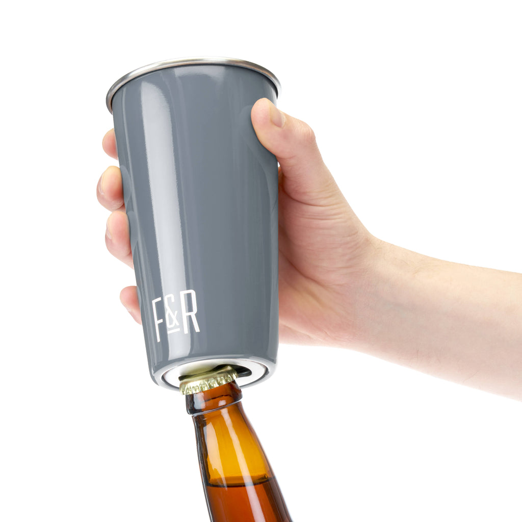Foster & Rye - Bottle Opening Pint Cup Set - Grey